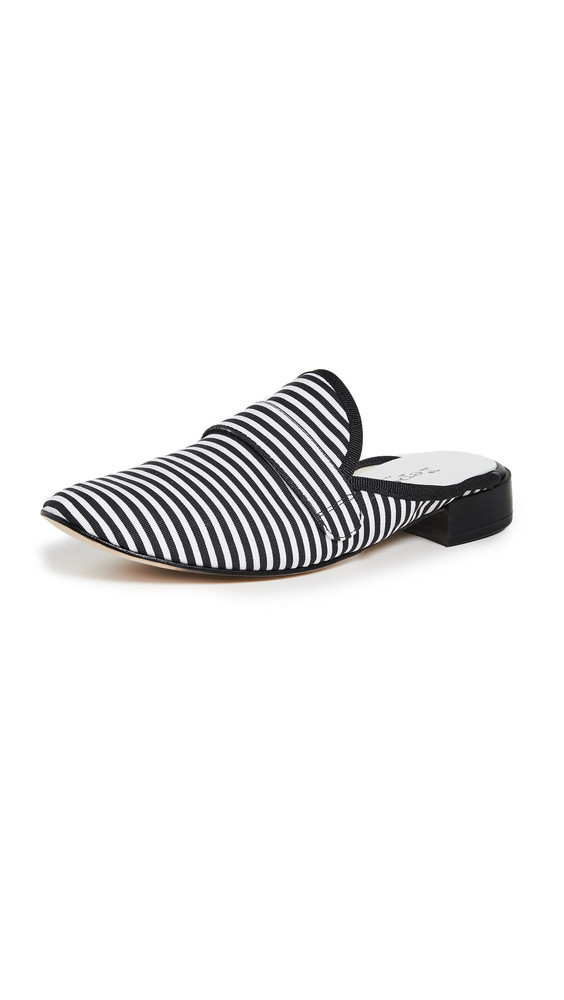 Repetto Loly Striped Mules in black / white