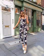 jumpsuit,black jumpsuit,floral jumpsuit,sleeveless,platform shoes,bag