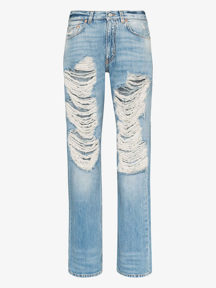 Givenchy distressed straight leg jeans in blue