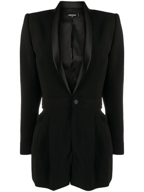 Dsquared2 silk lapel suit jacket playsuit in black