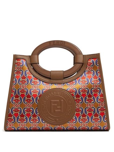 Fendi - Runaway Mini Satin And Leather Bag - Womens - Brown Multi