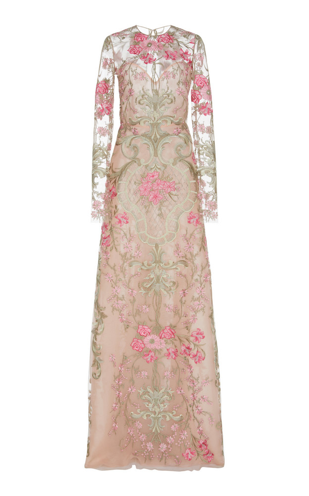 Naeem Khan Floral-Embroidered Tulle Gown Size: 2 in multi