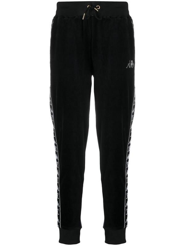 Kappa textured side logo panel track pants in black