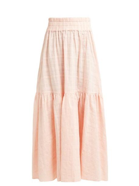 Mara Hoffman - Carmen Tiered Plaid Cotton Maxi Skirt - Womens - Pink