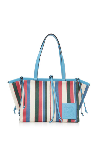 Loewe Cushion Striped Leather-Trimmed Canvas Tote in multi