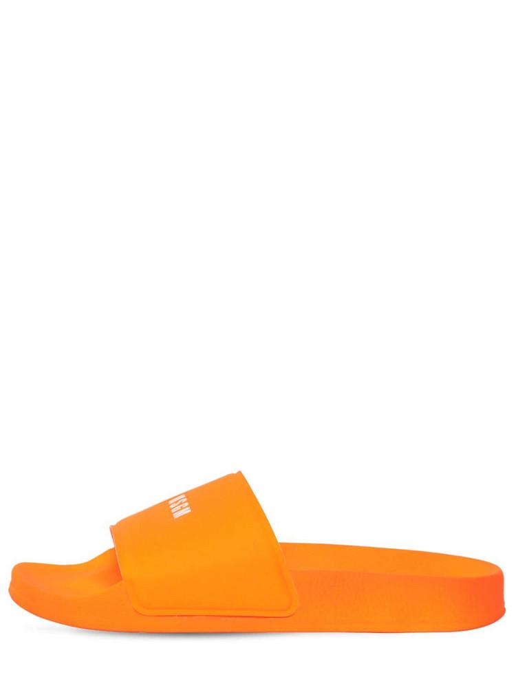 MSGM 10mm Micro Logo Rubber Slide Sandals in orange