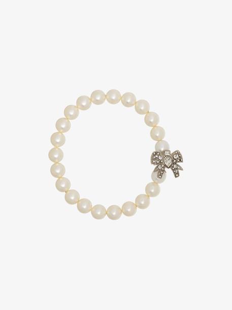 Miu Miu White Pearl Crystal Bow Bracelet