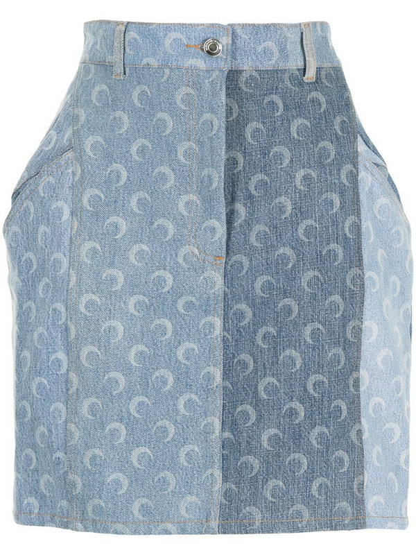 Marine Serre moon-print denim skirt in blue