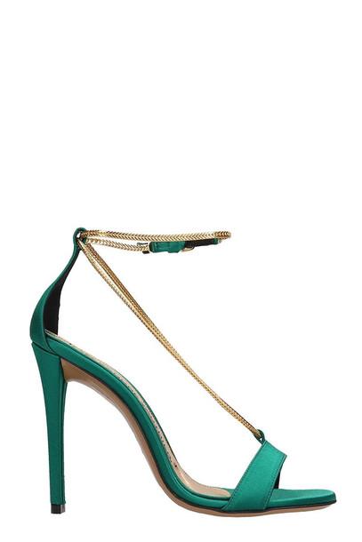 Alexandre Vauthier Alena Green Satin Sandals