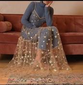 dress,stars,star dress,clear,sheet,sheer,gold
