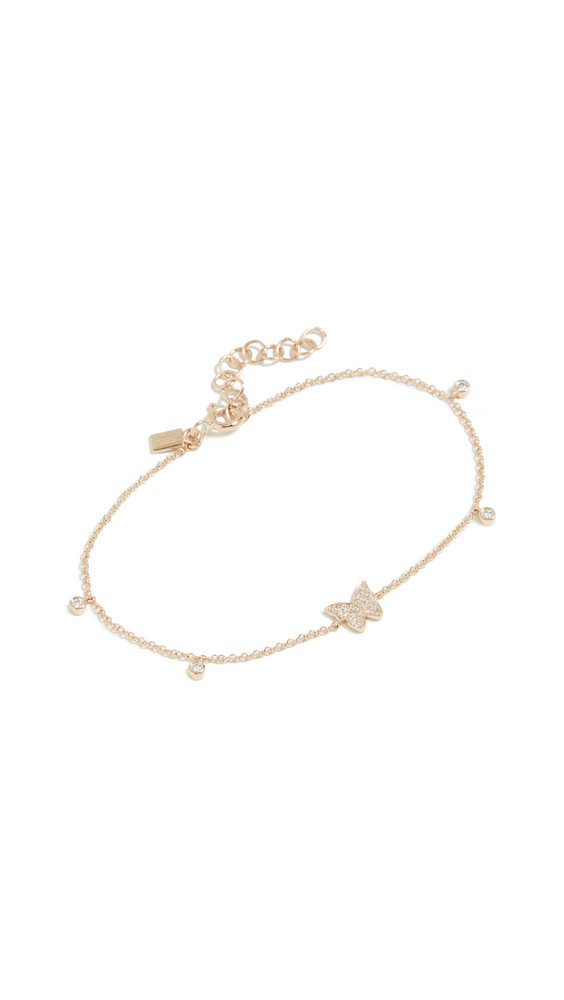 EF Collection 14k Diamond Butterfly Bezel Chain Bracelet in gold / yellow