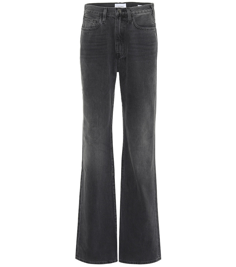 Frame Le Jane high-rise straight jeans in black