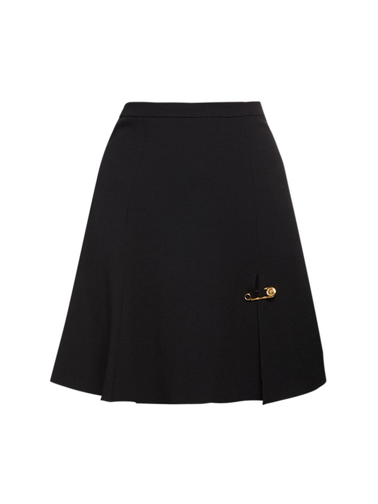 VERSACE Stretch Cady Flared Skirt in black