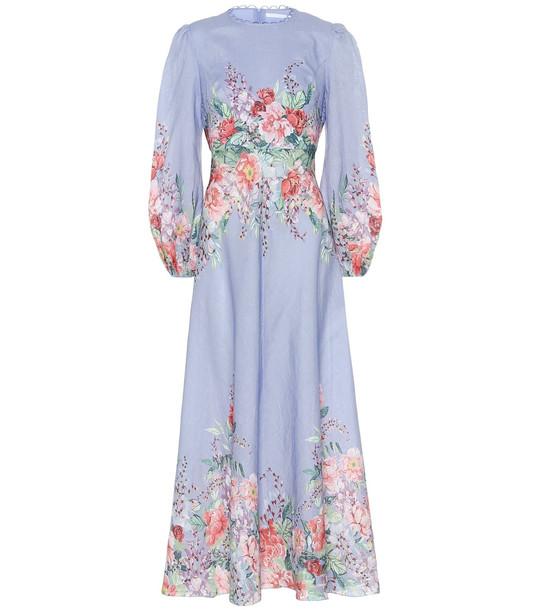 Zimmermann Bellitude floral linen midi dress in blue
