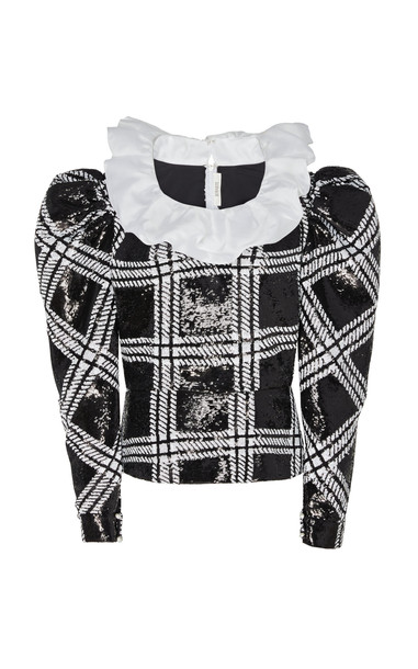 Rodarte Ruffle-Detailed Checked Sequined Blouse Size: XS in black