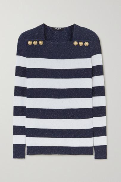 Balmain - Button-embellished Metallic Striped Ribbed-knit Sweater - White