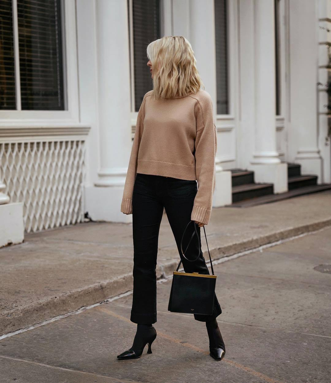 sweater knitted sweater black boots celine black bag black pants flare pants
