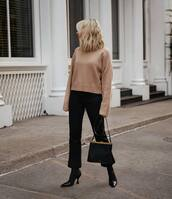 sweater,knitted sweater,black boots,celine,black bag,black pants,flare pants