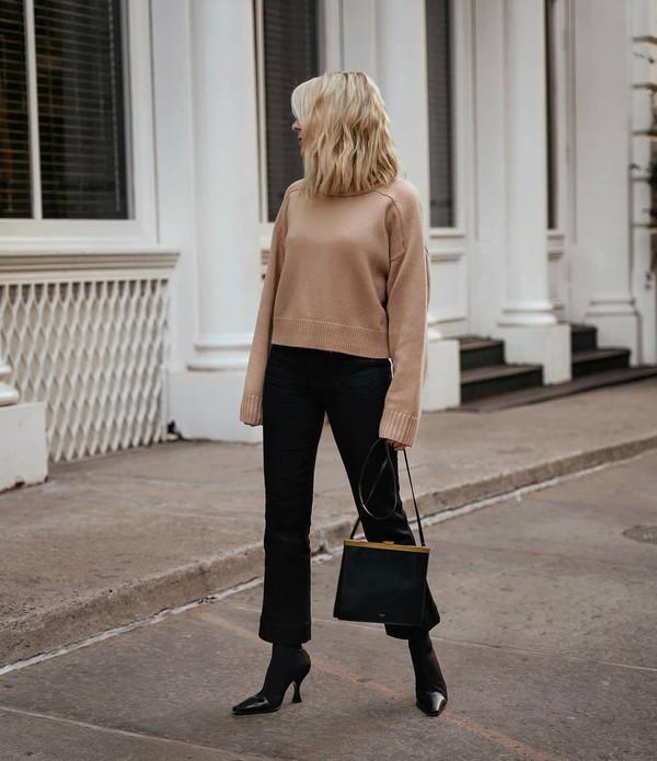 sweater knitted sweater black boots celine black bag black pants flare pants