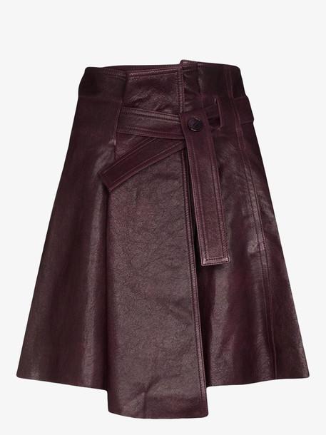 Chloé Chloé tie belt leather mini skirt in purple