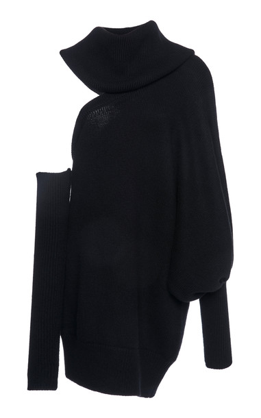 Ralph & Russo Convertible Cutout Cashmere Turtleneck Sweater in black