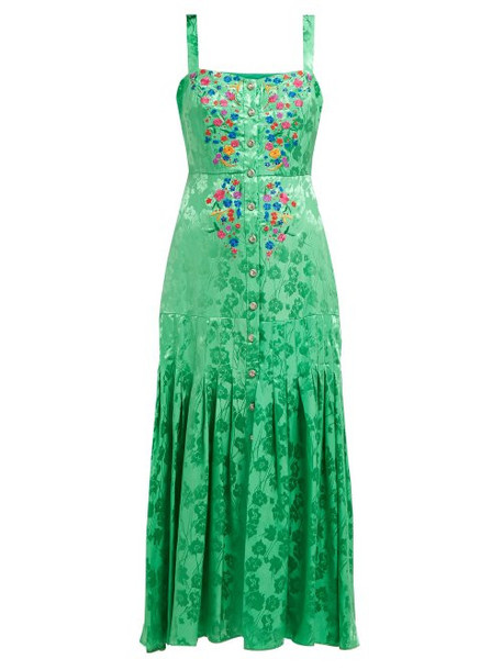 Saloni - Karen Floral Jacquard Silk Midi Dress - Womens - Green Multi
