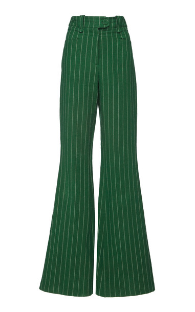 Eleanor Balfour Edie High Waisted Flared Pant in green