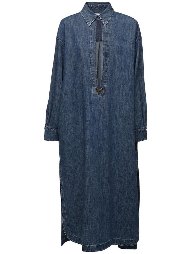 VALENTINO Wool Denim Caftan Dress in blue