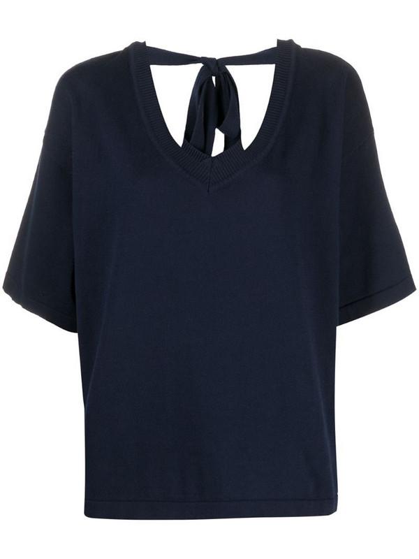 P.A.R.O.S.H. rear tied short-sleeve T-shirt in blue