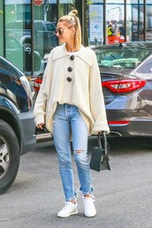 sweater,denim,jeans,hailey baldwin,celebrity,spring outfits