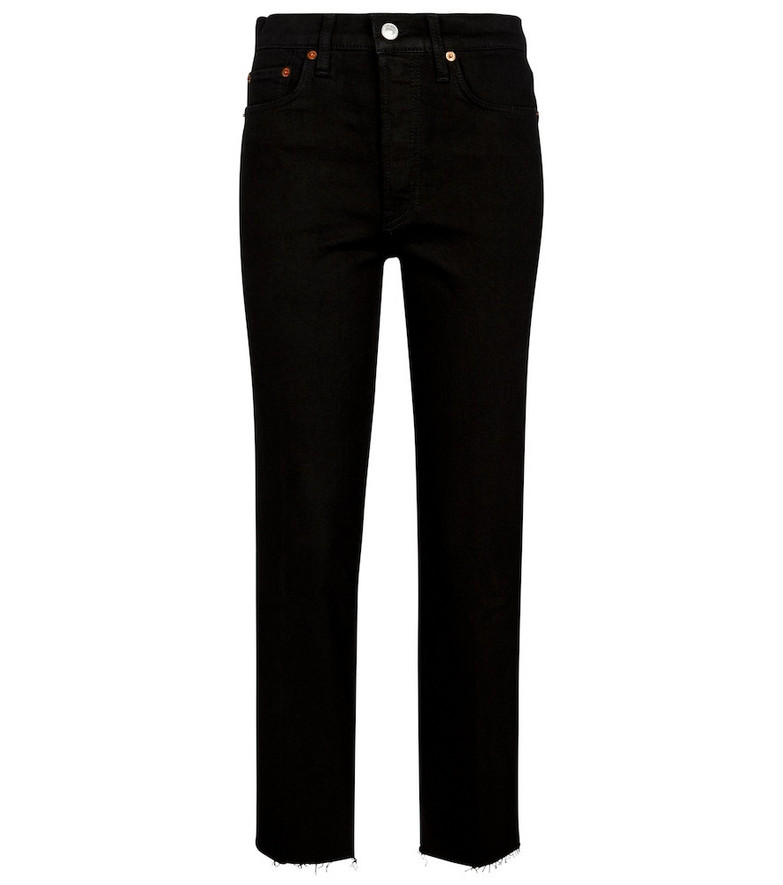 Re/Done High-rise slim jeans in black