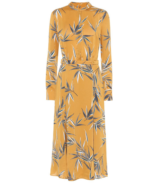 Equipment Sabenne printed satin maxi dress in yellow