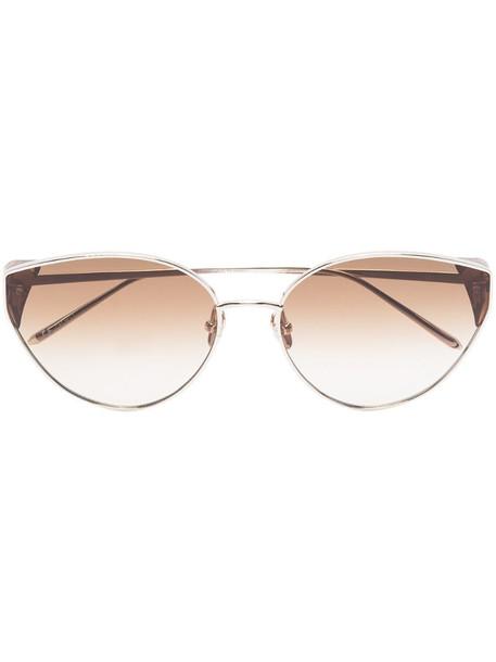 Linda Farrow Liv cat-eye frame sunglasses in silver