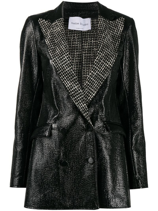 Hebe Studio shiny fitted jacket in black
