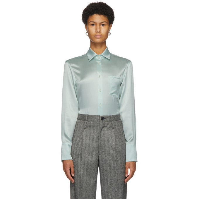 Commission Green Silk Banker Shirt in mint