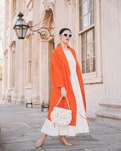 coat,long coat,white dress,maxi dress,slingbacks,white bag