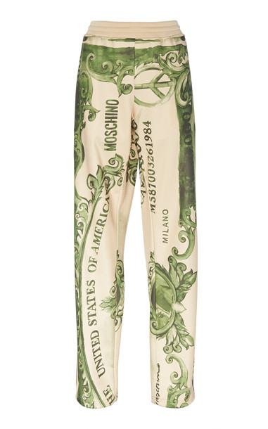 Moschino Printed Satin Track Pants Size: 46 in green