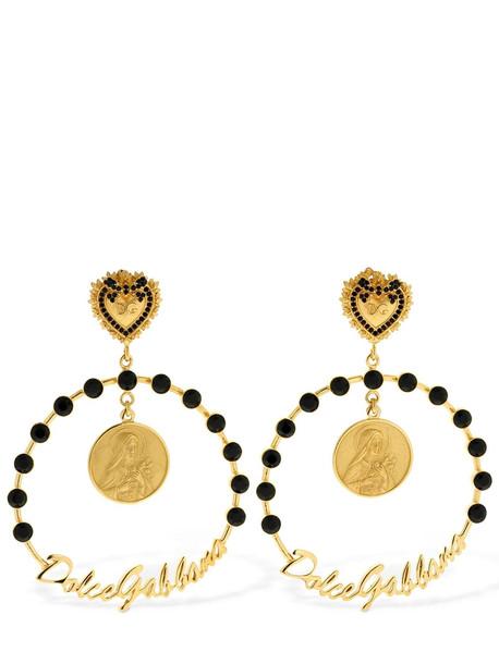 DOLCE & GABBANA Sicily Big Hoop Clip-on Earrings in black / gold