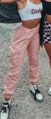 pants,pink cargo pants
