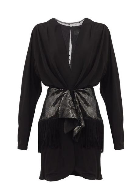 Dundas - Sequinned-panel Georgette Mini Dress - Womens - Black