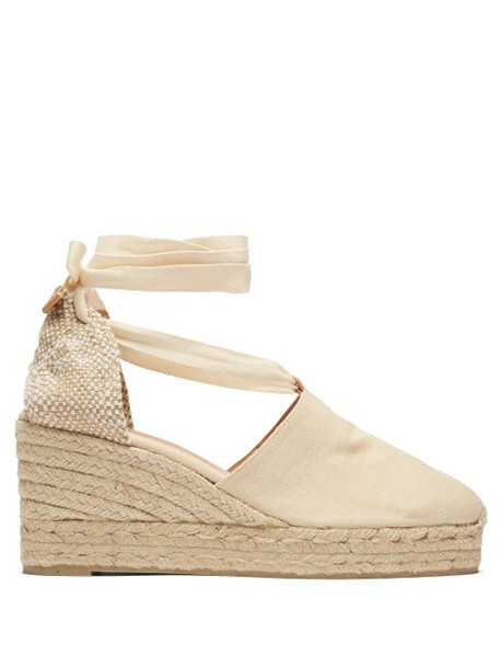 Castañer - Campesina Canvas And Jute Espadrille Wedges - Womens - Cream