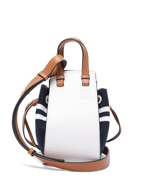 Loewe - Hammock Mini Leather & Canvas Cross-body Bag - Womens - Blue Multi