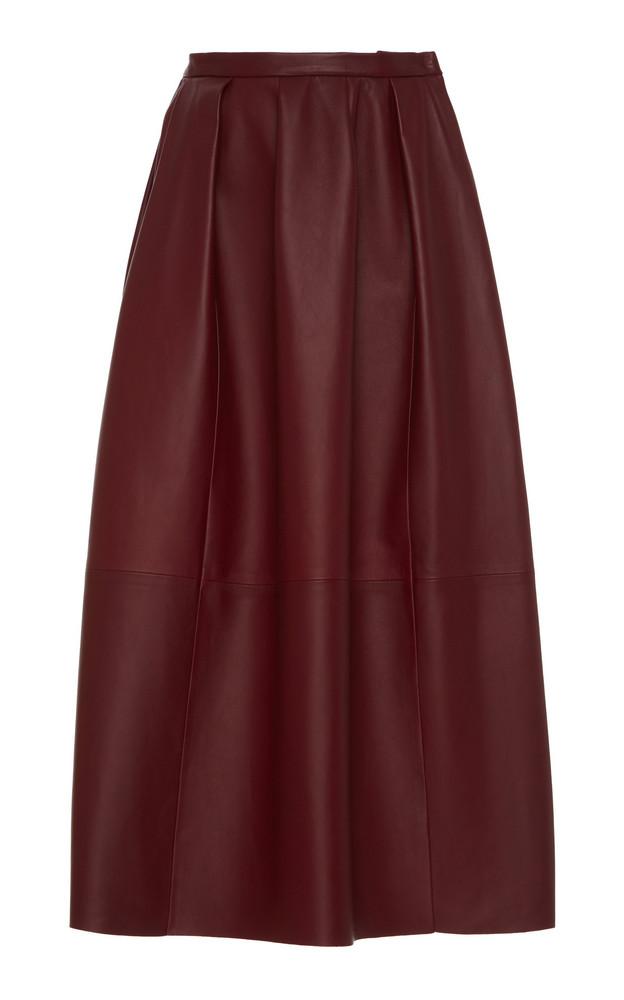Agnona Nappa Leather Midi Skirt in burgundy