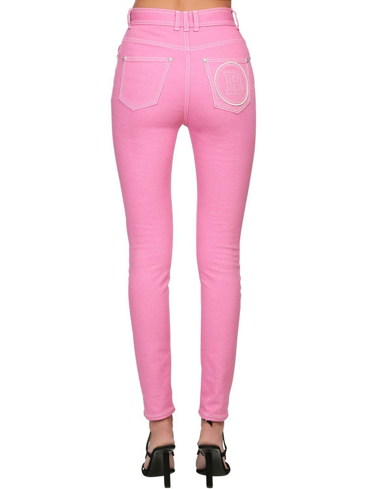BALMAIN Back Logo Skinny Cotton Denim Jeans in pink