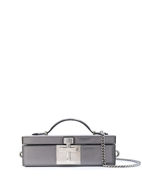 Oscar de la Renta Albi flat box clutch bag in grey