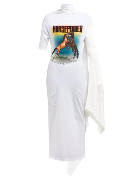 Christopher Kane - Horsepower Asymmetric Sleeve Dress - Womens - White Multi
