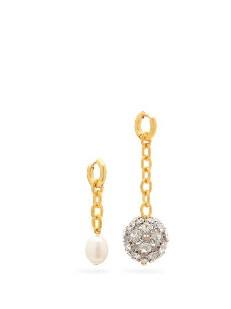 Timeless Pearly - Mismatched Crystal-embellished And Pearl Earrings - Womens - Crystal