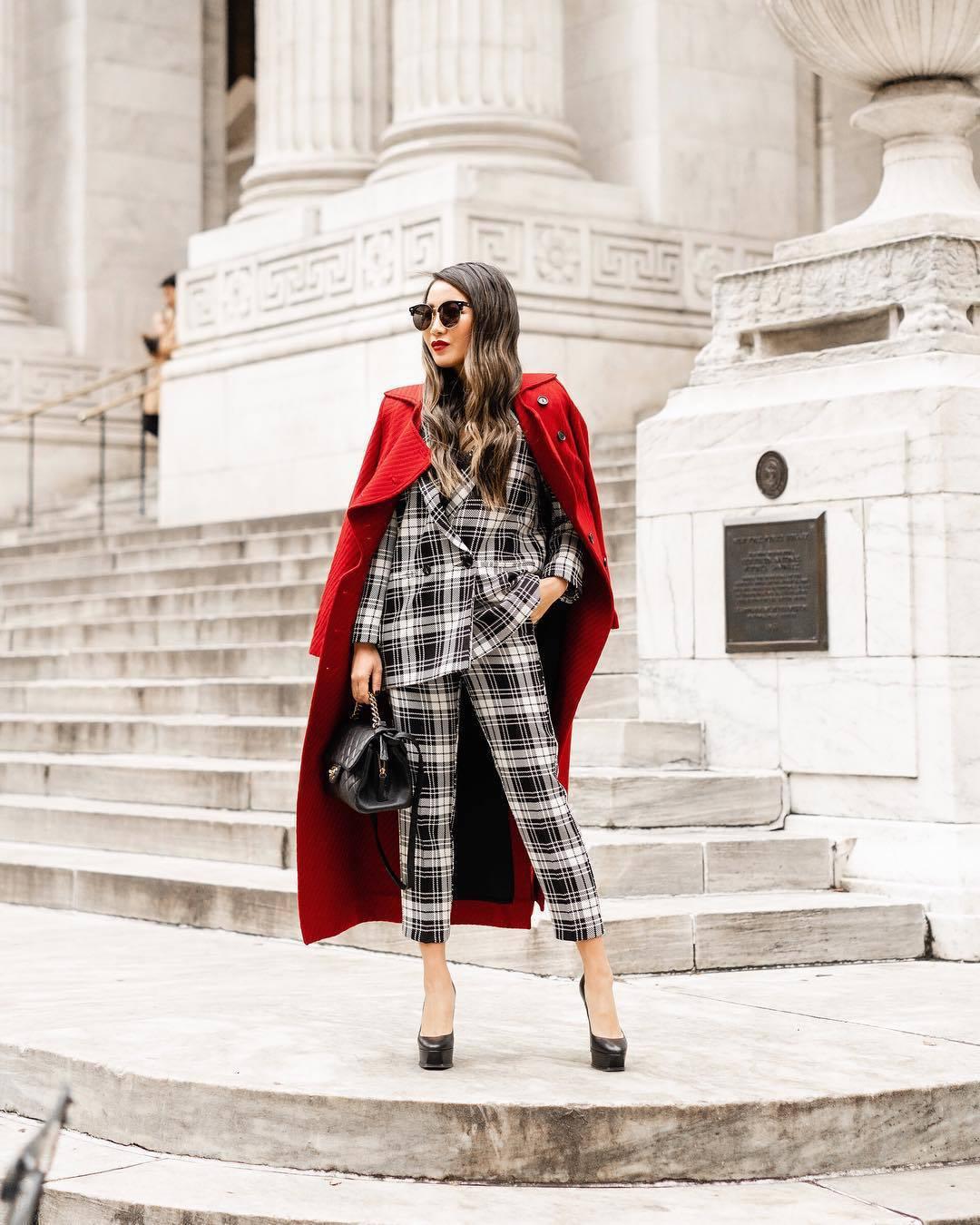 jacket plaid blazer double breasted plaid pants pumps red coat black bag