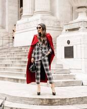 jacket,plaid blazer,double breasted,plaid,pants,pumps,red coat,black bag