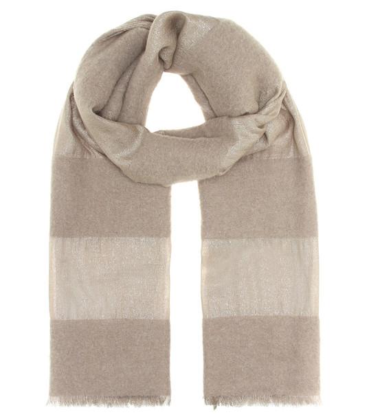 Brunello Cucinelli Alpaca, cashmere and silk scarf in beige